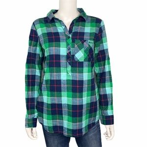 Columbia Green Blue Plaid Top Size M